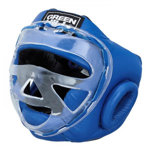 Боксерский шлем safe на шнуровке, Синий Green Hill